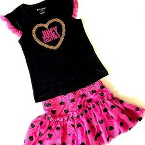 Juicy Couture Black and Red Top and Tutu Skirt set